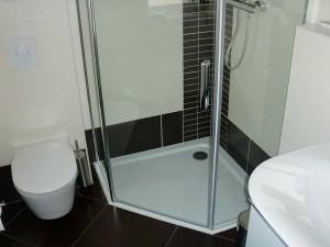 Duschabtrennung Gäste-WC (Nahansicht)